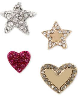 Tri-tone 4-pc. Set Pavé Star & Heart Stud Earrings