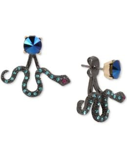 Two-tone Blue Stone Snake Front-back Earrings