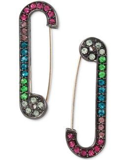 Hematite-tone Rainbow Pavé Safety Pin Drop Earrings