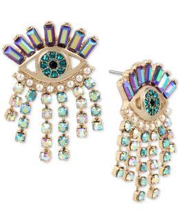 Gold-tone Crystal Evil-eye Drop Earrings