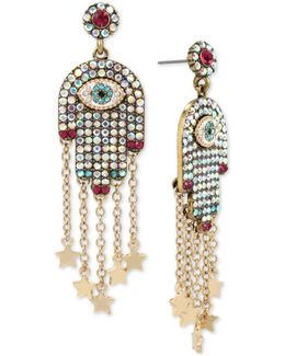 Gold-tone Pavé Hamsa Hand Drop Earrings