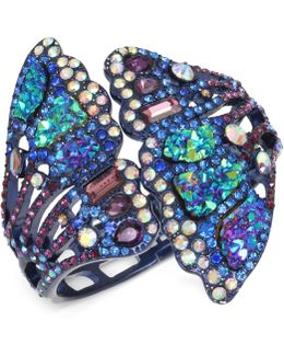 Purple-tone Multicolor Pavé Butterfly Wing Hinged Cuff Bracelet