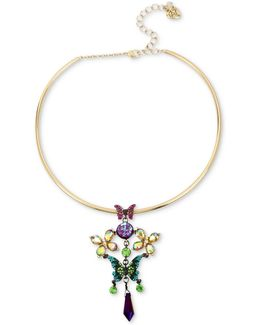 Two-tone Stone & Crystal Butterfly Wire Pendant Necklace