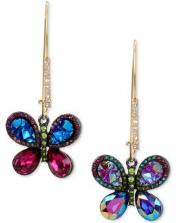 Gold-tone Crystal Butterfly Mismatch Earrings
