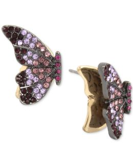 Hematite-tone Pavé Crystal Butterfly Stud Earrings