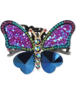 Hematite-tone Multi-stone Butterfly Cuff Bracelet