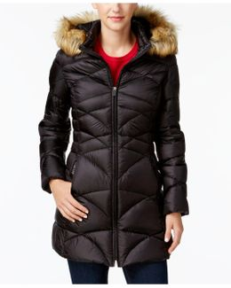 Faux-fur-trim Quilted Down Puffer Coat