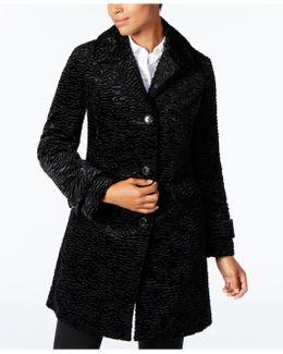 Petite Textured Faux-fur Coat