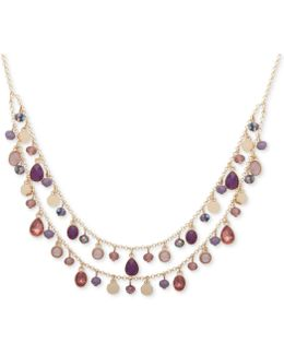 Gold-tone Shaky Bead Two-layer Collar Necklace