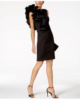 Ruffled Scuba Sheath Dress