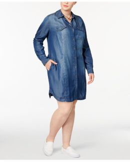 Trendy Plus Size Cotton Denim Shirtdress