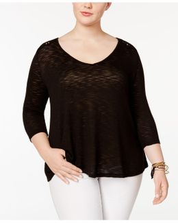 Trendy Plus Size Murielle Lace-up-back Top