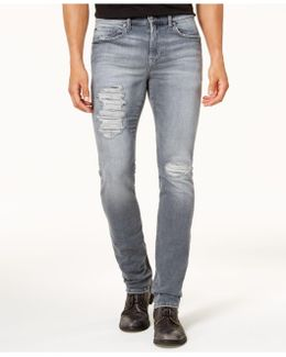 Men's Slim-fit Ripped Gray Jeans