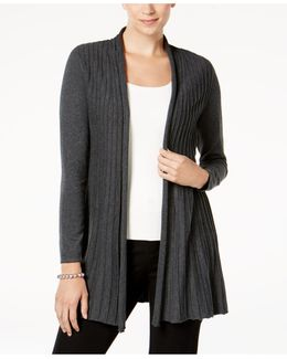 Pleated Open-front Cardigan