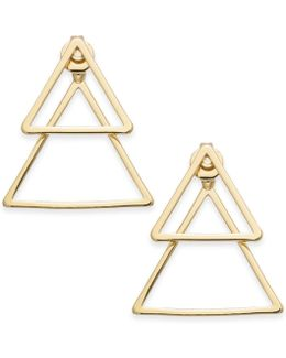 Gold-tone Triangle Front And Back Earrings