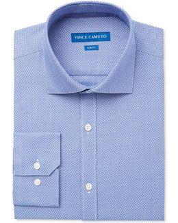 Men's Slim-fit Comfort Stretch Ink Mosaic Dobby Dress Shirt