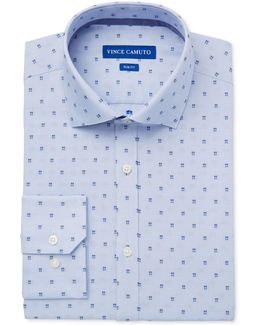 Men's Slim-fit Comfort Stretch Blue Square Dobby Dress Shirt