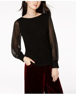 Cashmere Illusion-sleeve Sweater