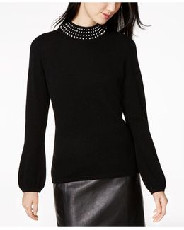 Pearl-embellished Cashmere Sweater