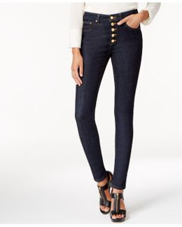Petite Button-front Skinny Jeans