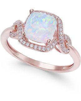 Opal (1 Ct. T.w.) & Diamond (1/8 Ct. T.w.) Ring In 14k Rose Gold
