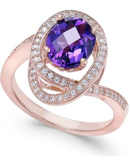 Amethyst (5/8 Ct. T.w.) & Diamond (1/3 Ct. T.w.) Ring In 14k Rose Gold
