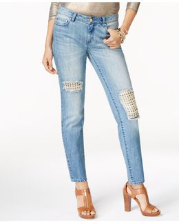 Cotton Studded Rip & Repair Jeans
