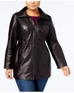 Plus Size Long Leather Coat