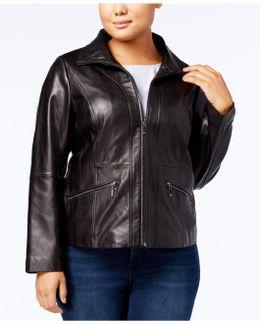 Plus Size Scuba Leather Jacket