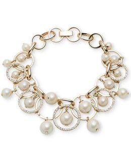 Gold-tone Imitation Pearl Shaky Link Bracelet