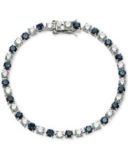 Silver-tone Stone & Crystal Link Bracelet