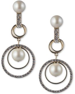 Gold-tone Imitation Pearl & Pavé Orbital Drop Earrings