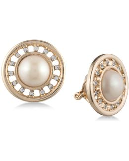 Gold-tone Imitation Pearl & Pavé Halo Clip-on Earrings