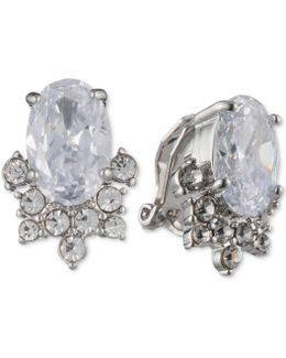 Silver-tone Oval Crystal Clip-on Earrings