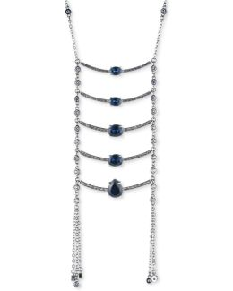 Silver-tone Stone Ladder Necklace