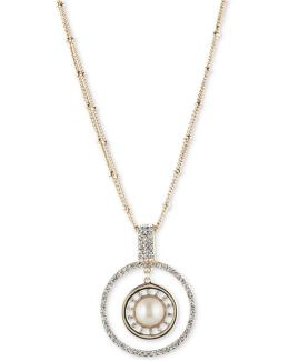 Gold-tone Imitation Pearl & Pavé Circle Pendant Necklace