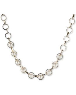 Gold-tone Imitation Pearl & Pavé Collar Necklace