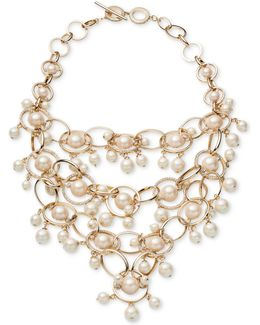 Gold-tone Imitation Pearl & Pavé Statement Necklace