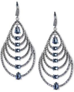 Silver-tone Graduated Teardrop Stone Drop Earrings