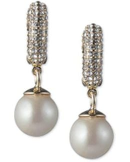 Gold-tone Imitation Pearl & Pavé Drop Earrings