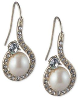 Gold-tone Imitation Pearl & Crystal Swirl Drop Earrings