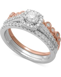 Diamond Two-tone 3-pc. Bridal Set (3/4 Ct. T.w.) In 14k White & Rose Gold