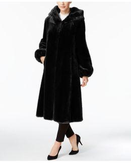 Faux-fur Hooded Maxi Walker Coat