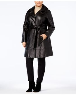 Plus Size Leather Trench Coat