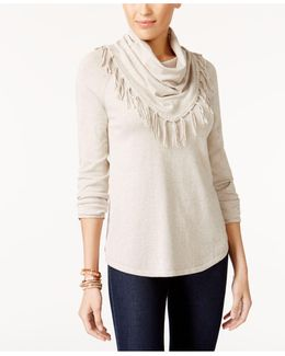 Petite Fringed Cowl-neck Sweater