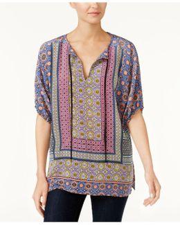 Silk Printed Peasant Tunic