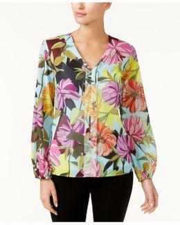 V-neck Floral-print Blouse
