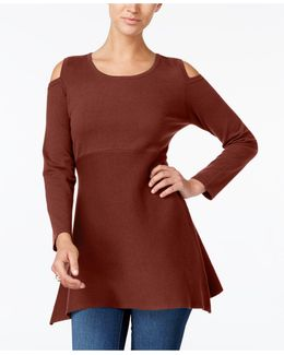 Petite Cold-shoulder Tunic Sweater