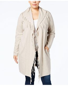 Plus Size Fringed-collar Open-front Duster Cardigan