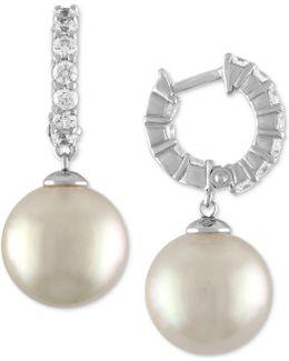 Sterling Silver Cubic Zirconia & Imitation Pearl Hoop Earrings
